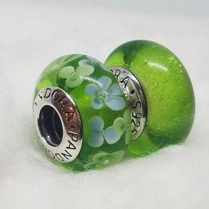 2 PANDORA DISNEY tinkerbell murano&flower green